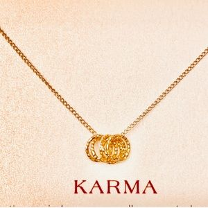 NWT Dogeared karma necklace gold rings